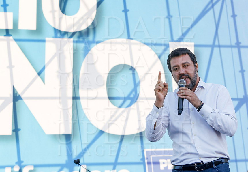 """Italian far-right League party's leader Matteo Salvini speaks on the stage during the so-called """"Italian Pride!"""" political rally against government's economic policies in St. John Lateran Square, Rome, Italy, October 19, 2019.<br /> Update Images Press/Riccardo De Luca"""