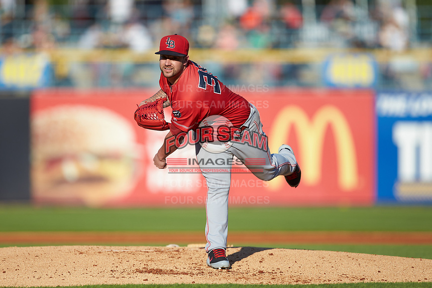 Louisville Bats starting pitcher Brandon Finnegan (38) follows through on his delivery against the Toledo Mud Hens at Fifth Third Field on June 16, 2018 in Toledo, Ohio. The Mud Hens defeated the Bats 7-4.  (Brian Westerholt/Four Seam Images)