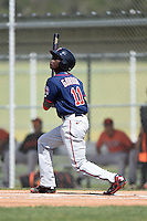 Minnesota Twins Nick Gordon (11) during a minor league spring training game against the Baltimore Orioles on March 28, 2015 at the Buck O'Neil Complex in Sarasota, Florida.  (Mike Janes/Four Seam Images)