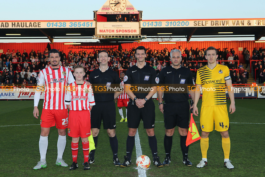 Mascot with the two captains and match officials pre-match during Stevenage vs Bristol Rovers, Sky Bet League 2 Football at the Lamex Stadium on 19th April 2016