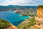 A view of the Mediterranean seaside town of Cassis and its environs from the top of the Route des Crêtes (elev. > 1,000 feet).