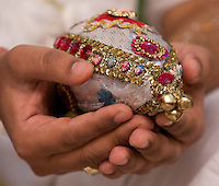 Soni holds an adorned ceremonial coconut during one of the blessing ceremonies on Jan. 3, 2008. Coconuts are a vital part of a Hindu ceremony. Many ceremonies revolve around the breaking of a coconut, called Nariyal, and is a symbol of good luck and prosperity.
