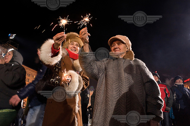 Celebrating the new year on Maidan Nezaleznnosti...