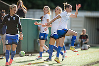 Seattle, Washington - Saturday, July 2nd, 2016: Seattle Reign FC forward Manon Melis (14) warms up prior to a regular season National Women's Soccer League (NWSL) match between the Seattle Reign FC and the Boston Breakers at Memorial Stadium. Seattle won 2-0.