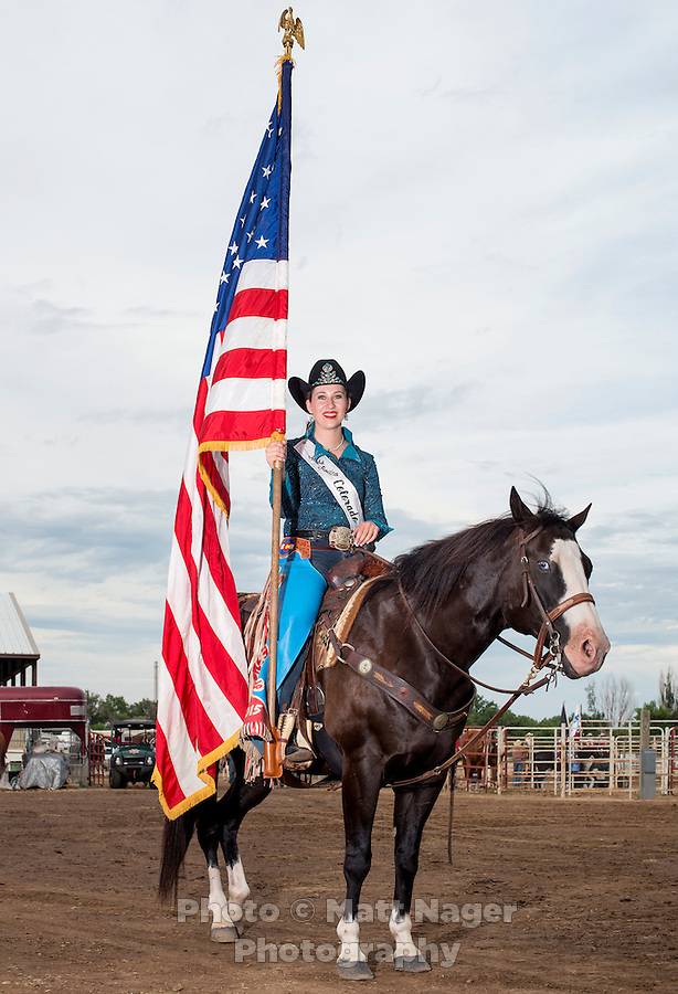 Miss Rodeo Colorado 2015 winner Marie Kidd, from Avondale, Colorado, the Greely Stampede in Greely, Colorado, July 1, 2015.<br /> <br /> Photo by Matt Nager