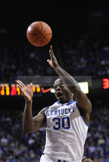 Kentucky Wildcats forward Julius Randle (30) shoots a layup during the first half of UK Men's Basketball vs. Texas A&M at Rupp Arena in Lexington, Ky., on Tuesday, January 21, 2014. Photo by Emily Wuetcher | Staff