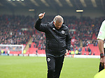 Chris Wilder manager of Sheffield Utd acknowledges the fans during the championship match at the Oakwell Stadium, Barnsley. Picture date 7th April 2018. Picture credit should read: Simon Bellis/Sportimage
