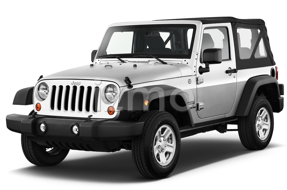 Front three quarter view of a 2012 Jeep Wrangler Sport.