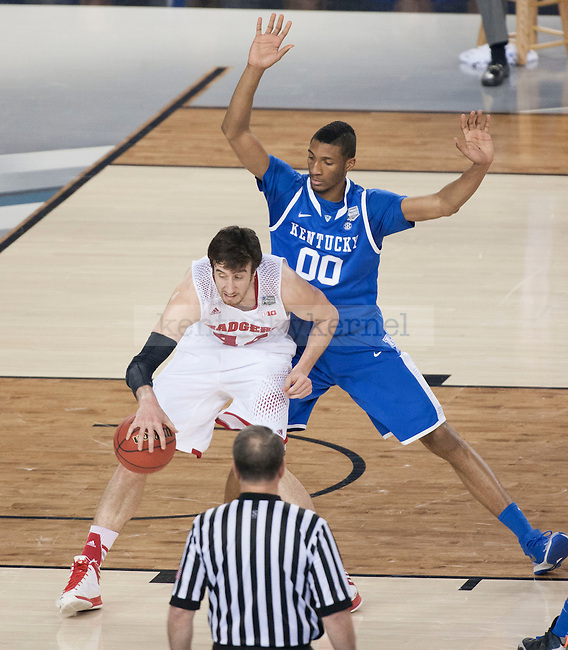 Kentucky Wildcats forward Marcus Lee (00) blocks Wisconsin Badgers forward Frank Kaminsky (44) during the NCAA Final Four vs. Wisconsin at the AT&T in Arlington, Tx., on Saturday, April 5, 2014. Photo by Eleanor Hasken | Staff