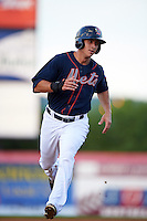 Binghamton Mets third baseman T.J. Rivera (21) running the bases during a game against the Trenton Thunder on August 8, 2015 at NYSEG Stadium in Binghamton, New York.  Trenton defeated Binghamton 4-2.  (Mike Janes/Four Seam Images)
