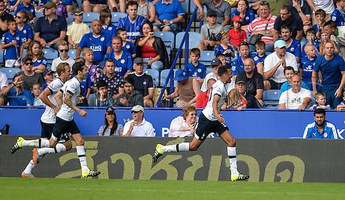 22.08.2015. Leicester, England. Barclays Premier League. Leicester City versus Tottenham Hotspur. Dele Alli of Tottenham Hotspur celebrates scoring to take Tottenham Hotspur into the lead.