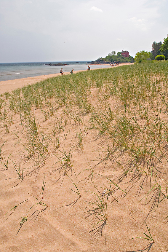 Lake Superior beach in Marquette Michigan.