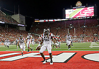 Virginia Tech Hokies running back Marshawn Williams (42) scores a touchdown against the Ohio State Buckeyes during Saturday's NCAA Division I football game at Ohio Stadium in Columbus on September 6, 2014. Virginia Tech led at halftime, 21-7. (Dispatch Photo by Barbara J. Perenic)