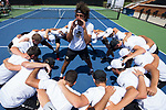 Skander Mansouri of the Wake Forest Demon Deacons gets his teammates fired up prior to the start of their match against the South Carolina Gamecocks during Round Two of the 2018 NCAA Men's Tennis Championship at the Wake Forest Tennis Center on May 13, 2018 in Winston-Salem, North Carolina.  The Demon Deacons defeated the Gamecocks 4-1.  (Brian Westerholt/Sports On Film)