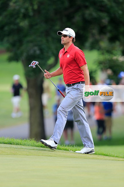 Adam Scott (AUS) walks onto the 9th green during Sunday's Final Round of the 2013 Bridgestone Invitational WGC tournament held at the Firestone Country Club, Akron, Ohio. 4th August 2013.<br /> Picture: Eoin Clarke www.golffile.ie