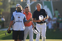 Sergio Garcia (ESP) and Fredrik Andersson Hed (SWE) on the third day of the DUBAI WORLD CHAMPIONSHIP presented by DP World, Jumeirah Golf Estates, Dubai, United Arab Emirates.Picture Denise Cleary www.golffile.ie