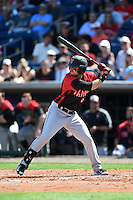 Tampa Spartans designated hitter Chris Pagliarulo (6) at bat during an exhibition game against the Philadelphia Phillies on March 1, 2015 at Bright House Field in Clearwater, Florida.  Tampa defeated Philadelphia 6-2.  (Mike Janes/Four Seam Images)