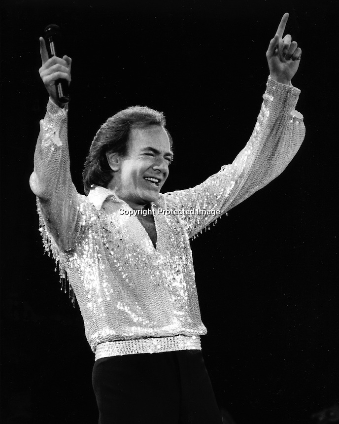 Neil Diamond in concert in San Francisco. (1985 photo by Ron Riesterer)