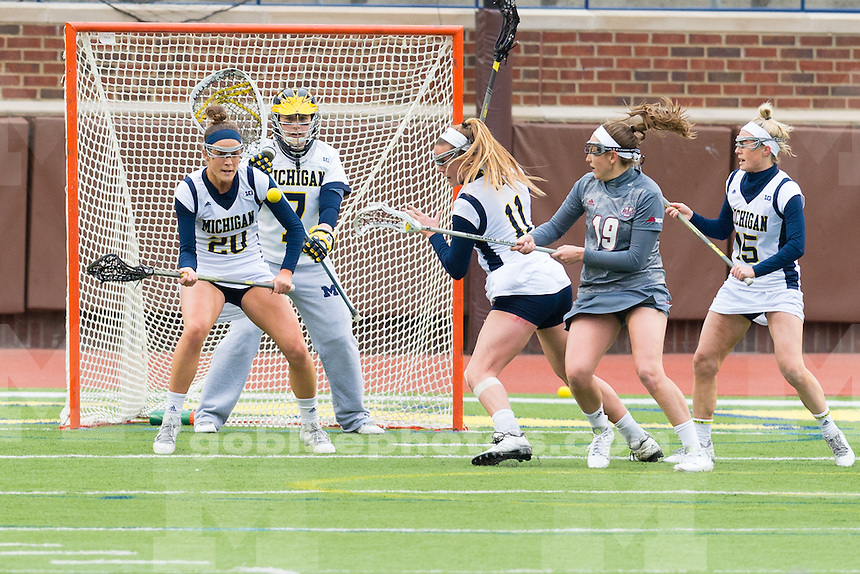 The University of Michigan women's lacrosse team,15-5, loss to the University of Massachusetts at Michigan Stadium in Ann Arbor, Mich., on March 18, 2016.