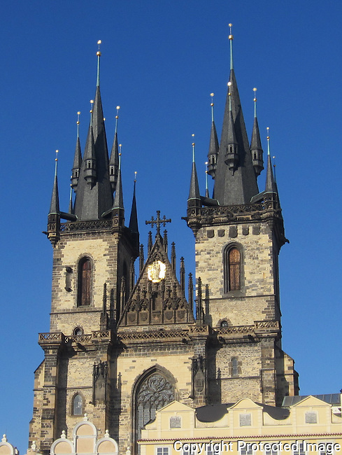 The Church of Our Lady in front of Tyn is in the Old Town of Prague, Czech Republic. It has been the main church of this part of the city since the 14th century. The church's towers are 80 meters high.