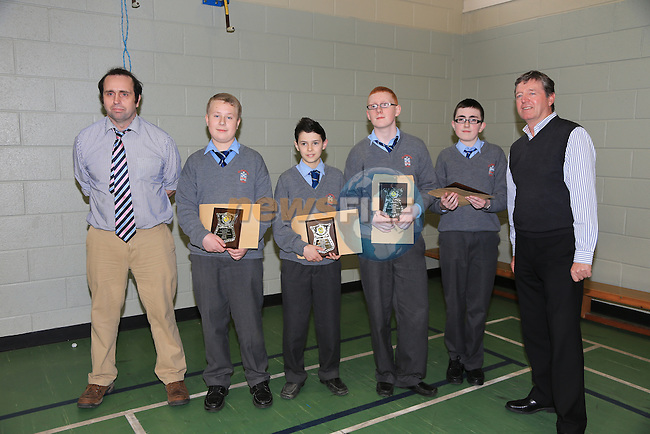 BernardSharkey, Michael Janik, Evan McGrane, Gary Murphy and Andrew Hanratty with Des Smith determination to succeed award.at the St Josephs CBS awards night..Picture:  www.newsfile.ie
