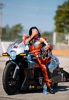 Sep 29, 2019; Madison, IL, USA; NHRA pro stock motorcycle rider Angelle Sampey reacts during the Midwest Nationals at World Wide Technology Raceway. Mandatory Credit: Mark J. Rebilas-USA TODAY Sports