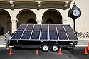 The SolaRover Mobile Solar Power System being showcased outside Civic Auditorium for Al Gore's keynote at West Coast Green 2008. The SolaRover Mobile Solar Power System provides a cleaner alternative to diesel generators. This model consists of fourteen 175-watt solar panels and 42kWhr battery storage. West Coast Green is the nation?s largest conference and expo dedicated to green innovation, building, design and technology. The conference featured over 380 exhibitors, 100 presenters, and 14,000 attendees. Location: San Jose Convention Center in Silicon Valley (San Jose, California, USA), September 25-27, 2008