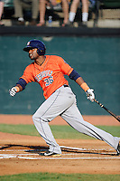 First baseman Yonathan Mejia (36) of the Greeneville Astros bats in a game against the Bristol Pirates on Saturday, July 26, 2014, at DeVault Memorial Stadium in Bristol, Virginia. Greeneville won, 2-1 in Game 1 of a doubleheader. (Tom Priddy/Four Seam Images)