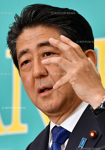 June 21, Tokyo, Japan - Japan's Prime Minister Shinzo Abe makes his point during a debate between the leaders of Japan's nine major political parties at the Japan National Press Club in Tokyo where Tuesday, June 21, 2016, one day prior to the official start of campaigning for the July 10 House of Council.lors election.  (Photo by Natsuki Sakai/AFLO) AYF -mis-