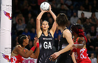 27.08.2016 Silver Ferns Ameliaranne Ekenasio in action during the Netball Quad Series match between teh Silver Ferns and England at Vector Arena in Auckland. Mandatory Photo Credit ©Michael Bradley.