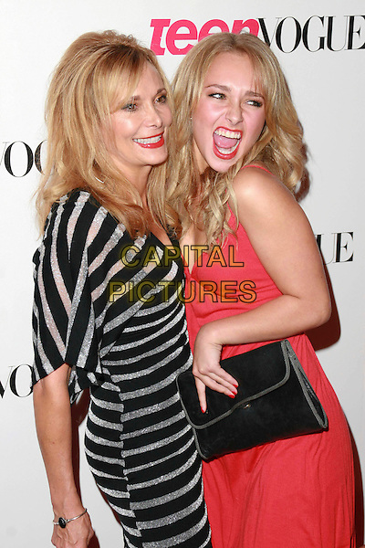 LESLEY & HAYDEN PANETTIERE.Teen Vogue Young Hollywood Issue Party held at Sunset Tower Hotel, West Hollywood, California, USA..September 20th, 2006.Ref: ADM/CH.half length black silver stripes striped dress red clutch purse mother daughter mom mum family mouth open.www.capitalpictures.com.sales@capitalpictures.com.©AdMedia/Capital Pictures.