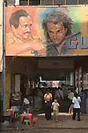 Downtown cinema adverting billboard.  Yangon Rangoon Myanmar Burma 2006.