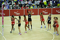 20.01.2018 Maria Folau (nee Tutaia) of Silver Ferns shoots during the Netball Quad Series netball match between England Roses and Silver Ferns at the Copper Box Arena in London. Mandatory Photo Credit: ©Ben Queenborough/Michael Bradley Photography