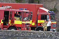 "Pictured: Police and fire services at Pembroke Castle, west Wales, UK. Friday 13 July 2018<br /> Re: Pembroke Castle is closed while an unknown package is investigated by police.<br /> Officers were called to Castle Terrace at around 1pm after the discovery and the castle was shut for the day.<br /> Dyfed Powys Police said it does not believe there is a risk to the public.<br /> A spokesman said ""precautions are being taken"" after an item which potentially contained an unknown substance was found.<br /> ""There will be a high presence of emergency services as the item is investigated,"" he added."