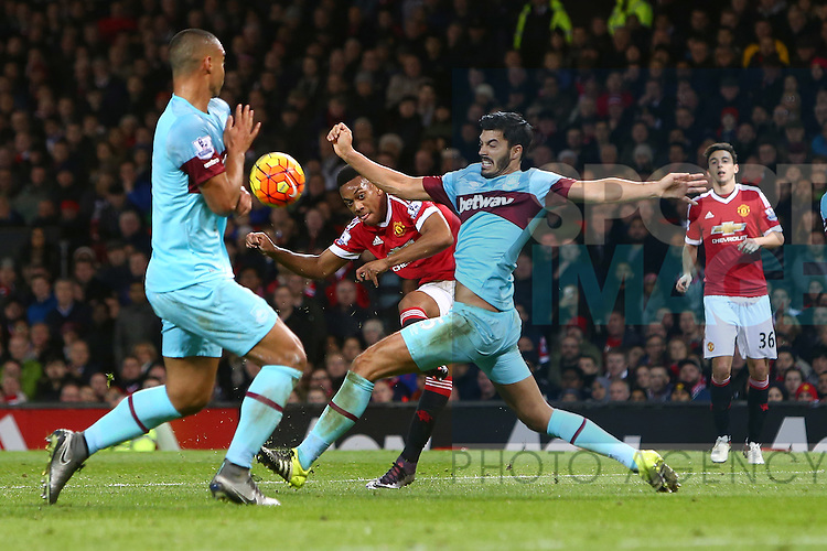 Anthony Martial of Manchester United fails to find a way through for a shot on goal - Manchester United vs West Ham United - Barclay's Premier League - Old Trafford - Manchester - 05/12/2015 Pic Philip Oldham/SportImage