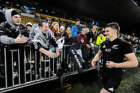 Beauden Barrett mingles with fans after the Rugby Championship match between the NZ All Blacks and Argentina Pumas at Yarrow Stadium in New Plymouth, New Zealand on Saturday, 9 September 2017. Photo: Dave Lintott / lintottphoto.co.nz