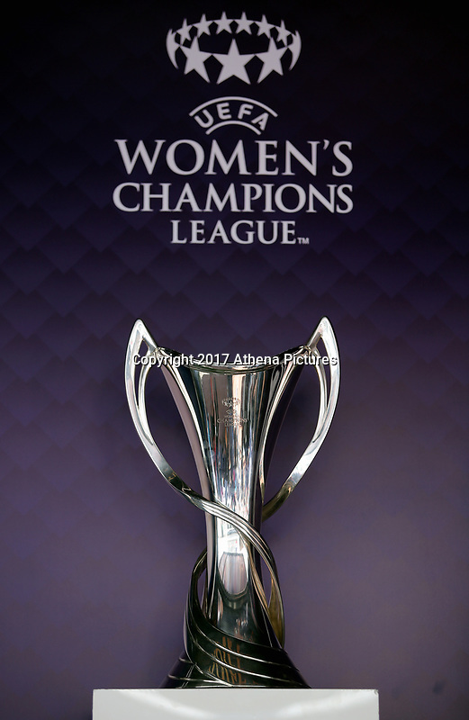 SWANSEA, WALES - APRIL 22: The Women's Champions League trophy on display outside the stadium prior to the Premier League match between Swansea City and Stoke City at The Liberty Stadium on April 22, 2017 in Swansea, Wales. (Photo by Athena Pictures/Getty Images)