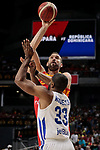 Marc Gasol of Spain and Ronald Roberts Jr of Dominican Republic during the Friendly match between Spain and Dominican Republic at WiZink Center in Madrid, Spain. August 22, 2019. (ALTERPHOTOS/A. Perez Meca)
