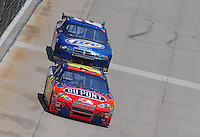 Jun 1, 2008; Dover, DE, USA; NASCAR Sprint Cup Series driver Jeff Gordon (24) leads Kurt Busch (2) during the Best Buy 400 at the Dover International Speedway. Mandatory Credit: Mark J. Rebilas-US PRESSWIRE