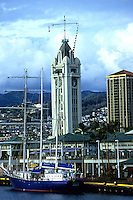 The Aloha Tower Marketplace in Honolulu Harbor