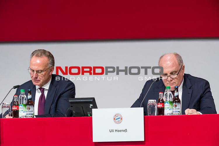 30.11.2018, Audi Dome, Muenchen, GER, FC Bayern Jahreshauptversammlung 2018, im Bild Karl-Heinz Rummenigge (Vorstandsvorsitzender FCB)  Uli Hoeness (Praesident FCB) <br /> <br /> Foto © nordphoto / Straubmeier