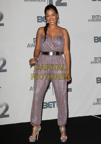 LaLa Vazquez.2012 BET Awards held at The Shrine Auditorium, Los Angeles, California, USA..1st July 2012.full length silver purple jumpsuit belt  .CAP/ADM/KB.©Kevan Brooks/AdMedia/Capital Pictures.