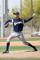 Sam Narron of the Milwaukee Brewers plays in a spring training game against the Los Angeles Dodgers at the Brewers complex on April 2, 2011 in Phoenix, Arizona. .Photo by:  Bill Mitchell/Four Seam Images.