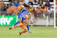 Houston, TX - Saturday July 22, 2017: Margaret Purce and  Janine Van Wyk during a regular season National Women's Soccer League (NWSL) match between the Houston Dash and the Boston Breakers at BBVA Compass Stadium.