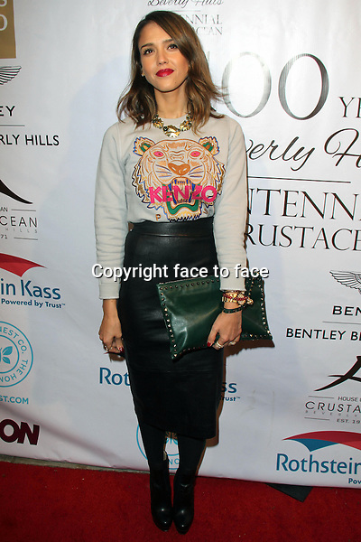 BEVERLY HILLS, CA - February 05: Jessica Alba at Experience East Meets West honoring Beverly Hills' momentous centennial year, Crustacean, Beverly Hills, February 05, 2014.<br />