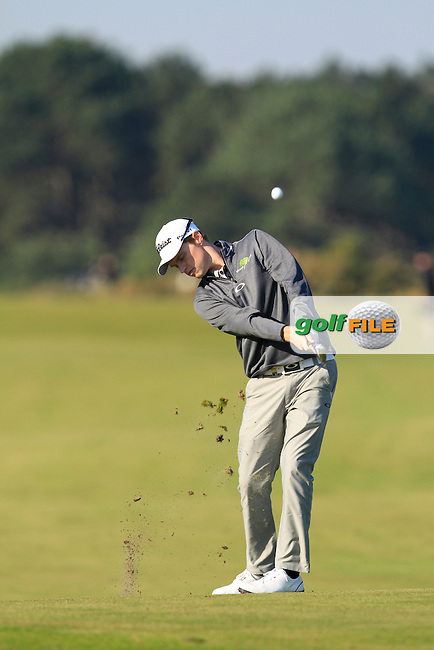 Kevin Phelan (IRL) on the 2nd fairway during Round 2 of the 2015 KLM Open at the Kennemer Golf &amp; Country Club in The Netherlands on 11/09/15.<br /> Picture: Thos Caffrey | Golffile