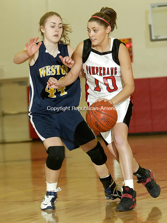SOUTHBURY, CT 02/11/08- 021108BZ04- Pomperaug's Lauren Atkinson (10) drives against Weston's Brittany Swanson (44) during their game at Pomperaug High Monday.<br /> Jamison C. Bazinet Republican-American