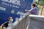 Getafe's coach Jose Bordalas (l) with the President Angel Torres during training session. May 25,2020.(ALTERPHOTOS/Acero)