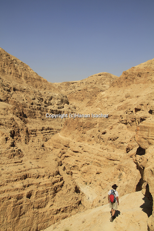 Judean desert, the trail to Murabaat Caves at Nahal Darga where the Bar Kochba letters were found