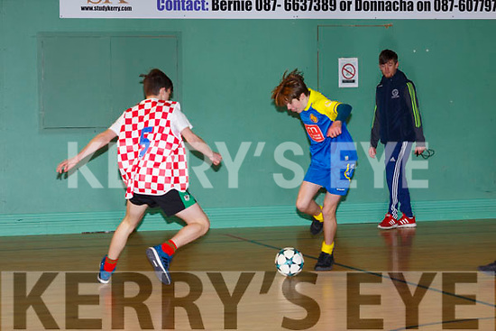 Indoor action from the Jack O'Sullivan 3rd annual Memorial five-a-side soccer tournament held in the Ballybunion Community Centre on Sunday last.